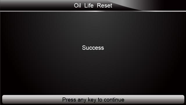 Oil Reset With One Button Success Screen
