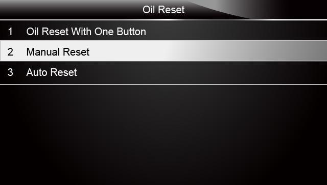Sample Oil Reset Menu Screen (2)
