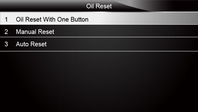 Sample Oil Reset Menu Screen